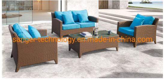 China Patio Outdoor Furniture Sets Wicker Garden Brown Sofa Chairs