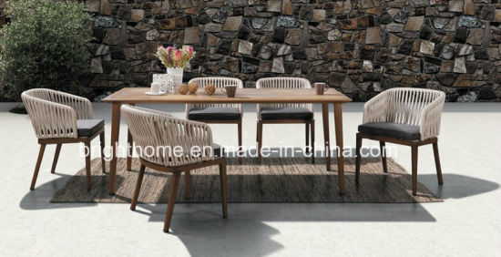 China HCraft Waterproof Home Dining Table Set Hotel Weaving Patio Garden Outdoor Dining Furniture
