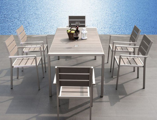 China Waterproof Anti-Corrosion Modern Rectangle Hotel Home Dining Chair Table Set Outdoor Garden Le