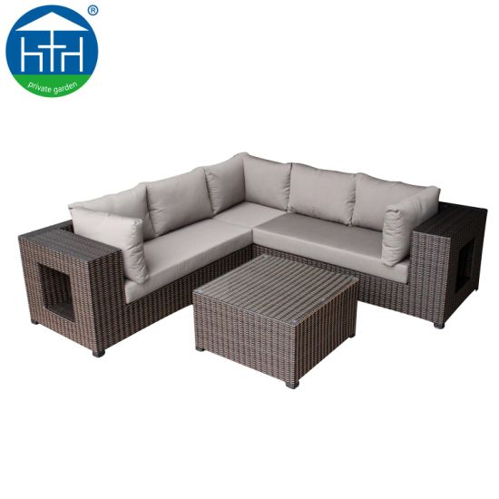 China Hotel Lobby Sofa Cozy Living Room Sectional Rattan Sofa Set with Storage Space