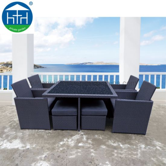 China Outdoor Wicker Dining Chair with Table Patio Rattan Dining Chair Garden Rattan Chair Furniture