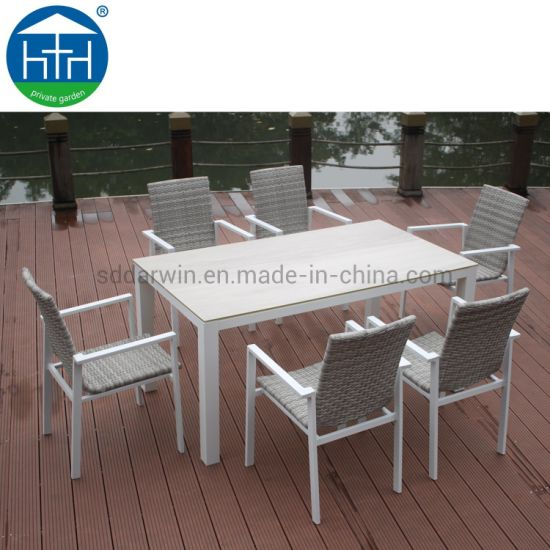 China Best Selling Modern Outdoor Garden Furniture Aluminum Frame Poly Wood Patio Table Chairs