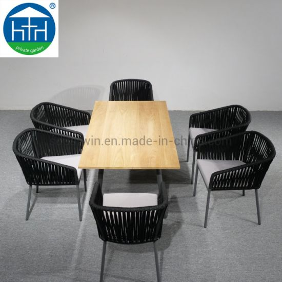 China Outdoor Furniture Marble Top Aluminium Frame Rope Woven Dining Table Chairs Set