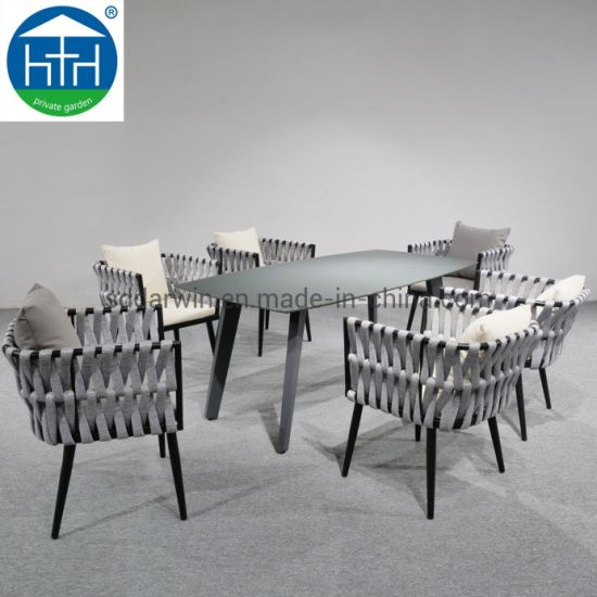 China Latest Design Dining Table Chair Woven Rope Outdoor Garden Furniture