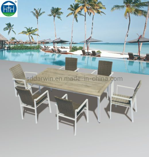 China Modern Patio Gary Polywood Aluminum Leisure Chair Table Set Garden Outdoor Patio Dining Furnit