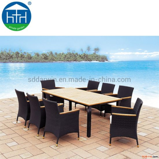 China Restaurant Arm Garden Furniture Sets Rattan Chair Dining Table Modern Outdoor Table Chairs