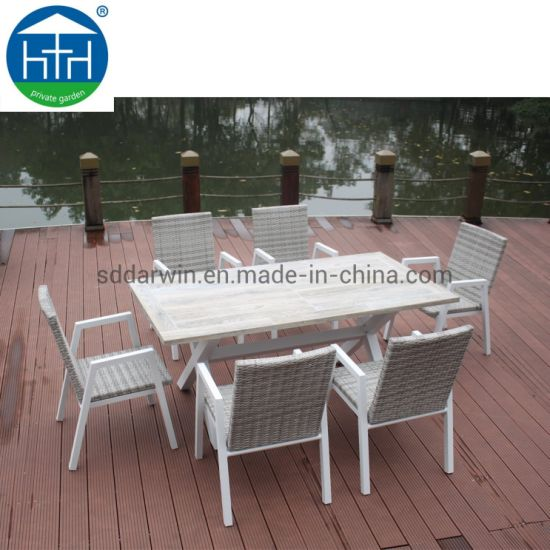 China PE Rattan Wicker Garden Furniture Outdoor Dining Set Patio Bench Chair Table