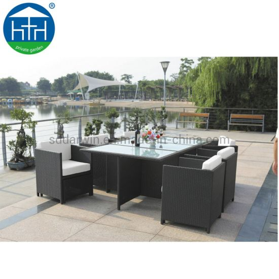 China Economic Garden Rattan Outdoor Furniture Wicker Dining Table Set Patio Chairs