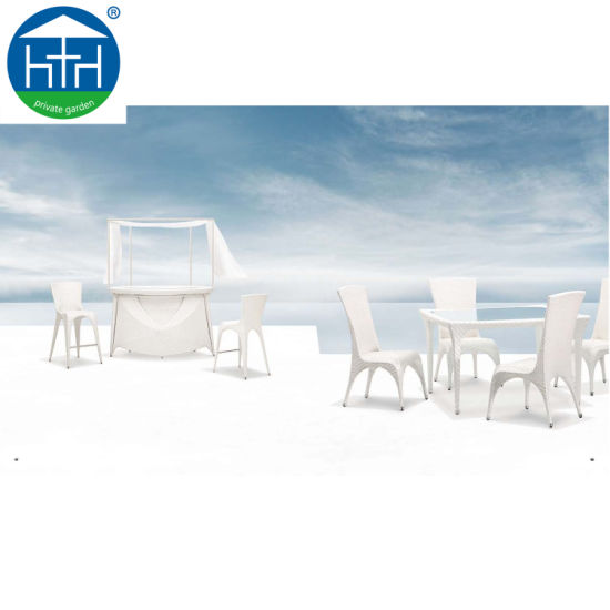 China Promotional Rattan Wicker Furniture Garden Dining Table Chair Outdoor Dining Set