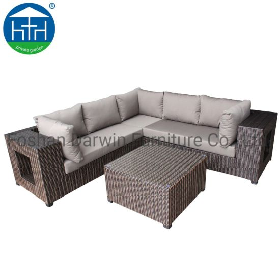 China Hotel Garden Sofa Coner Handmade Durable Rattan with Large Storage Space