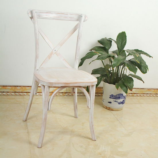China Solid Wood Stackable Cross Back Banquet Wedding Chair