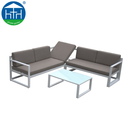 China Great Loading Ability Garden Furniture L Shape Sectional Aluminum Sofa with Chaise Lounge