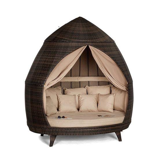 China 2-persoons ligstoel met gordijnen Patio Chaise Lounges Zonnebank Outdoor Sofabed Tuinmeubilair Foto's en foto's