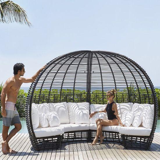 China loungeset rotan ronde zonnebank luifel zwart poly rieten zonnebank ligbed fauteuil meubilair