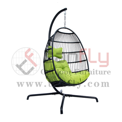 Balcony Black Rattan Hanging Hammock Swing Chair