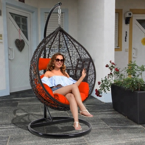 Cheap Price Patio Resin Wicker Hanging Egg Shaped Garden Chair with Stand