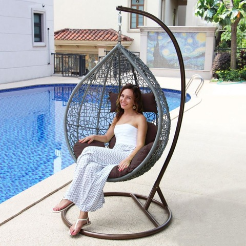 I-Cottage Outdoor Wicker Rattan Swing Sihlalo Uxhoma I-Hammocks yeqanda