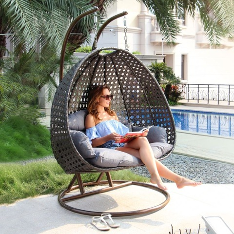 Garden Furniture Swingasan 2 Seater Garden Hanging Rattan Swing Chair