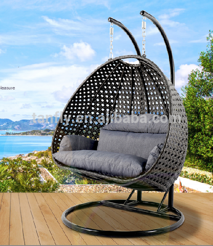 Garden Rattan Wicker Double Seat Hanging Swing Egg Chair with Metal Stand pictures & photos
