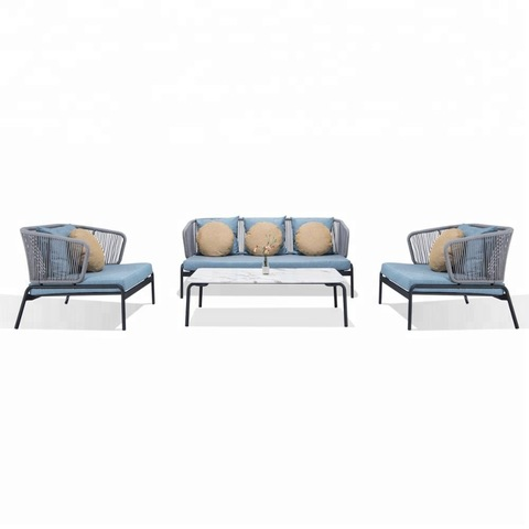 Bindu Rope Yakasarudzika Dhiza Sofa Seti Iron Frame Patio Rope Sofa Set
