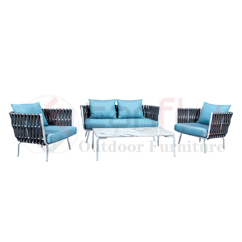 Hand-woven grey rope garden furniture patio salon sofa set for swing pool