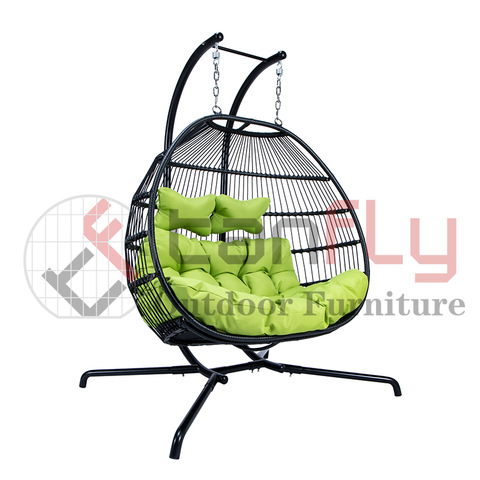 Hotel Garden Swing Chair Two Seat Rattan Patio Menggantung gambar & gambar