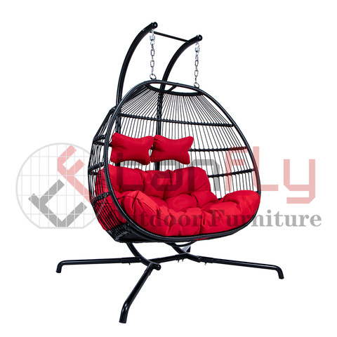 Hotel Garden Garden Swing Chair Two Seat Rattan Patio Hanging