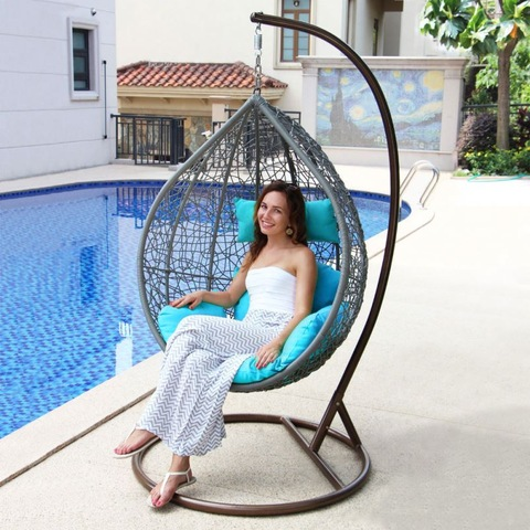 Teres Dalam Ruangan Patio Luar Double Wicker Swing Chair Rotan Egging Egg
