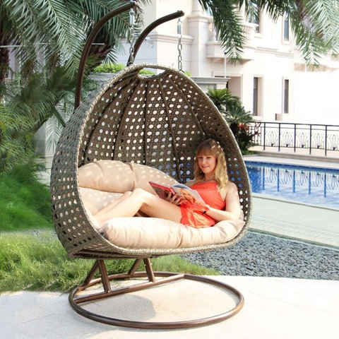 Modern Outdoor Luxury 2 Seater Garden Swing Hanging Chair Rattan