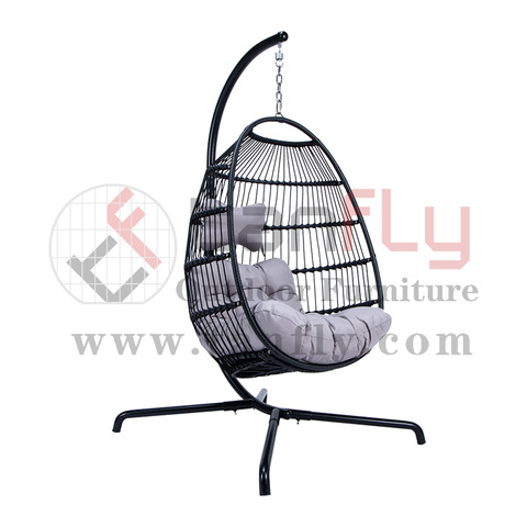 Modern Outdoor Parts Fir Outdoor Garden Rattan Oval Hanging Swing Chairs Stull