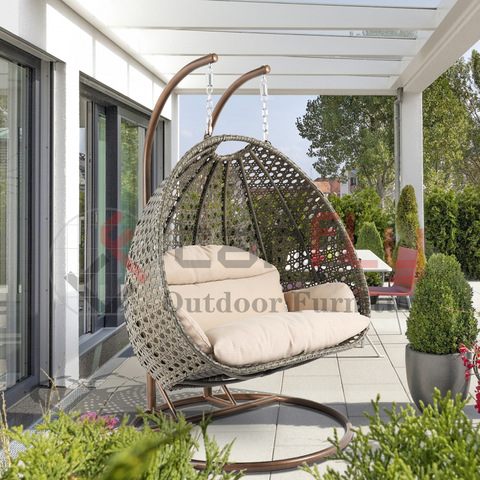 Eseese-vaaiga Talosaga Wicker Hanging 2 Person Egg Swing Chair I Beige
