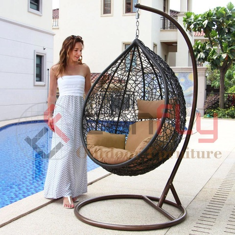 Nest Shape Rattan Hanging Chair Swing Wicker Garden Hammock with Stand