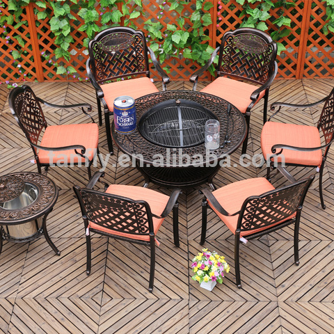 Outdoor Cast Aluminum Furniture Garden Set BBQ Table Set
