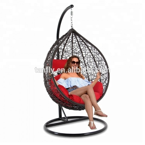 Outdoor Miwwel Gaart Set Wicker Rattan Teardrop Schaukelstull
