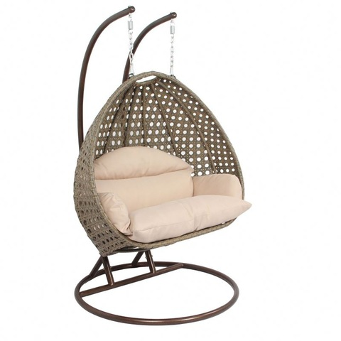 Outdoor Patio Miwwelen Outdoor Duebel Sëtz Hanging Swing Chair