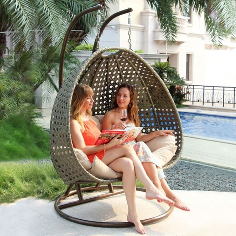 Outdoor Restaurant Miwwel Rattan Qualitéit Outdoor Wicker Egg Shaped Swing Chair