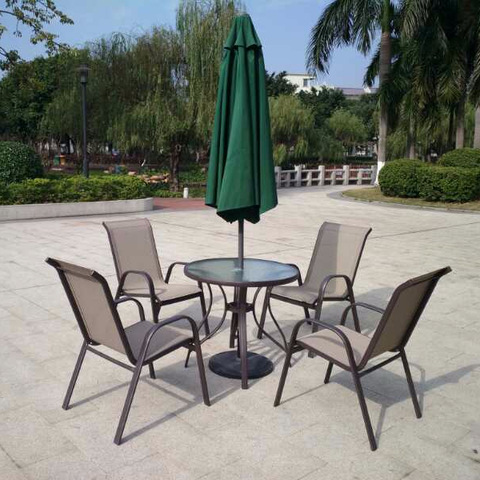 Outdoor Table Chair with Umbrella Parasol
