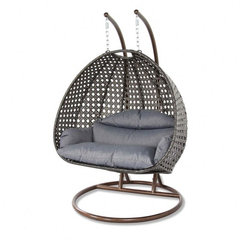 Outdoor Waterproof Furniture Twoseat Hanging Egg Shaped Swing Chair With Metal Stand pictures & photos