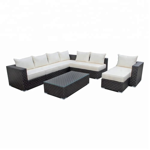 Patio Furniture Aluminum Powder Coated Outdoor Rattan Furniture Garden Sofa