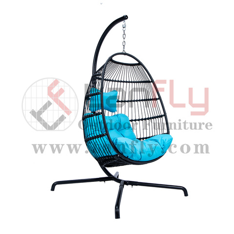 I-Patio Outdoor Patio Rattan Oval Hanging Swing Chairs Chair