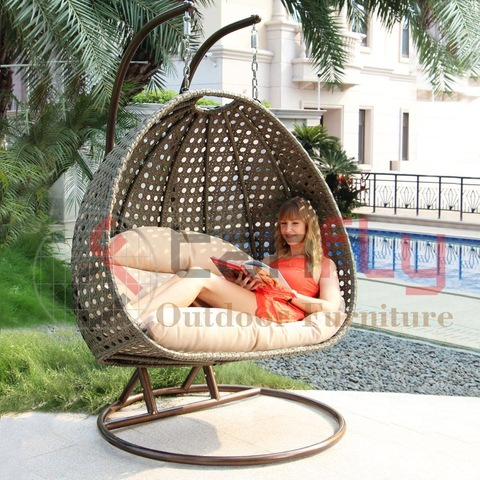 Set Roting Outdoor Patio Wicker Hanging Chair Swing untuk orang dewasa