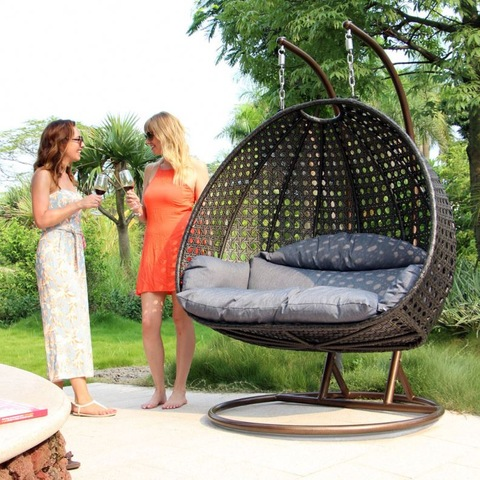 Royal Garden Patio Furniture 2 Seater Rattan Hanging Egg Swing Chair For Sale