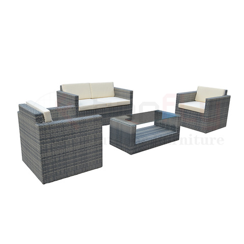 TF-9098 All Weather alum fram PE Rattan Set 4 Pcs Sofa Wicker Sectional Garden Patio Furniture