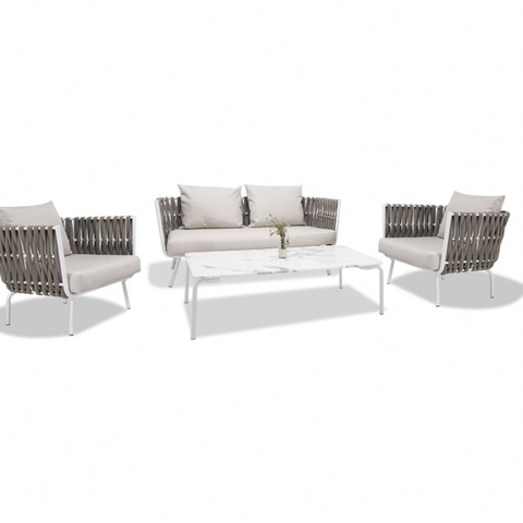 Wholesale Furniture Supplier Balcony Rattan Sofa With Reclining Headrest Set