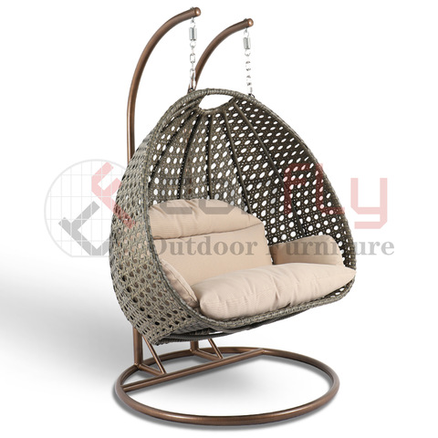 I-Wicker Egg Shaped Swing Chair Natural Rattan Ifenisha Ikhwalithi Yangaphandle