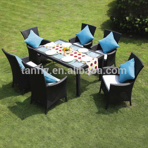 Wicker Garden Furniture Rattan Table û serokê li Patio Dining Set Outdoor