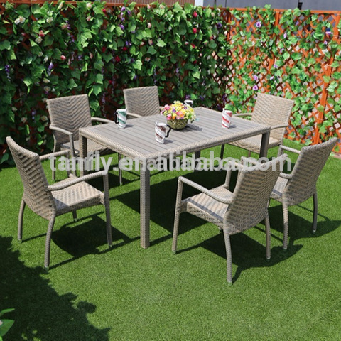 Kembera Alumînîkî ya Topî ya Rattan Rattan Outdoor Patio Furniture Dining Chairs Chining and Table Set