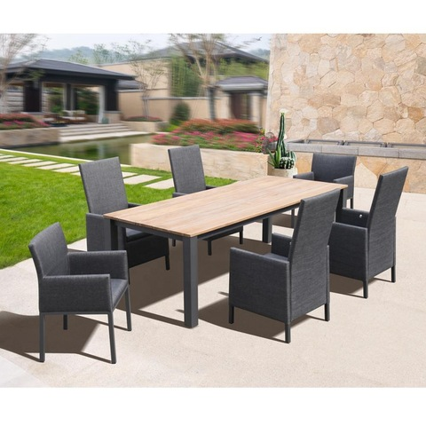 All Modern Aluminium Outdoor Miwwel Patio Iessdësch Set mat Teak Table Top Gaardemiwwel ou