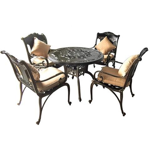 बाल्कनी कास्ट uminumल्युमिनियम आउटडोअर खुर्ची आणि टेबल आँगन फर्निचर सेट