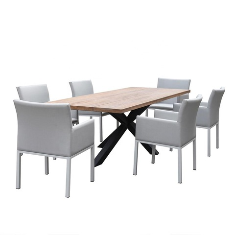 Commercial Aluminum Frame Teak Wood Top Dining Table Set for Indoor Outdoor Garden Furniture poly pa pictures & photos